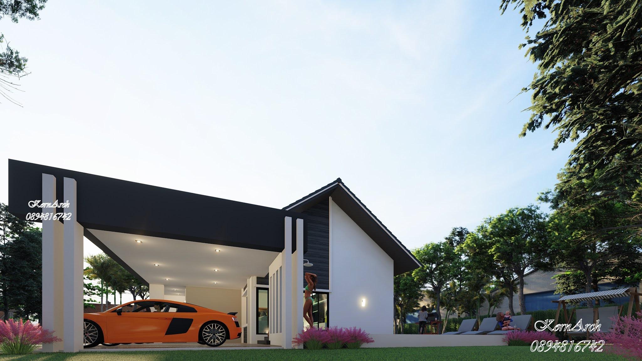 รับออกแบบบ้านชั้นเดียวสไตล์นอร์ดิก,แบบบ้านพร้อมสระ