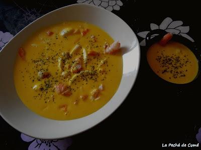 Gazpachuelo de naranja con gambas