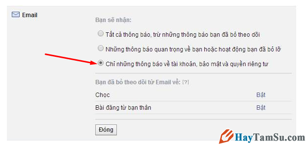 Hủy nhận email từ Facebook