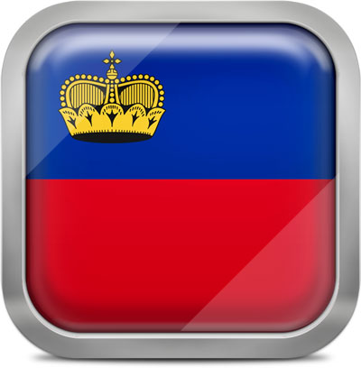 Liechtenstein square flag with metallic frame