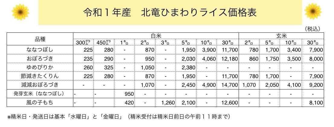 令和元年度産 ひまわりライス価格表