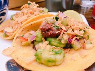 El Catrin Distillery Toronto shrimp tacos