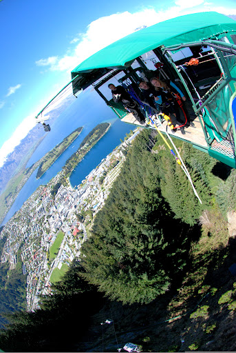 Waving at Ledge Bungy Queenstown