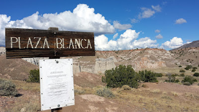 Plaza Blanca, known also as the White Place, is located near Abiquiu, NM. The formations here were an inspiration for paintings by Georgia O'Keeffe. It was first in From the White Place, 1940, oil on canvas, that she showcased the amazing forms of this area.
