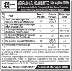 MIDHANI Advertisement 2017 www.indgovtjobs.in