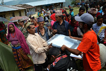 Distribution of aid in Gorkha, Nepal