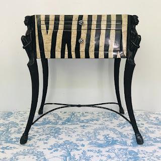 Stone Zebra Stripe Accent Table