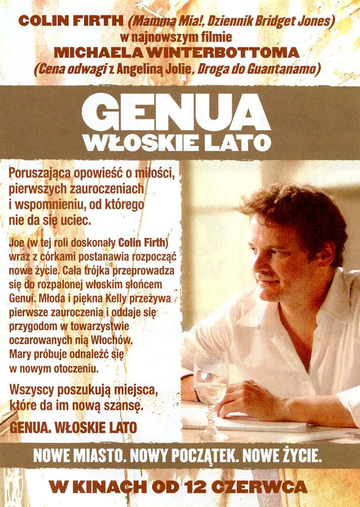 Ulotka filmu 'Genua. Włoskie Lato (tył)'