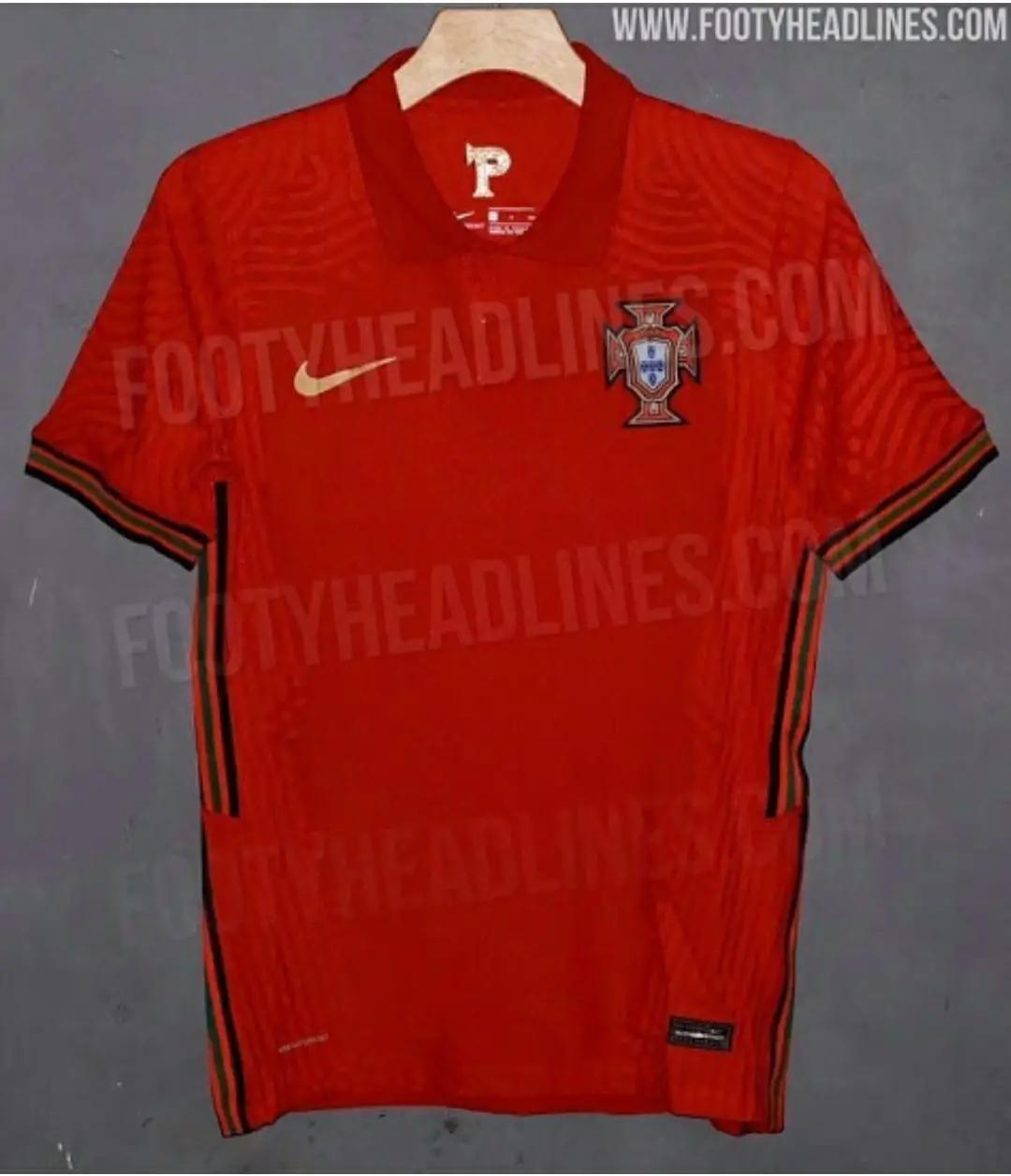 tampilan leih detail gambar Bocoran Jersey Portugal Home Euro 2020