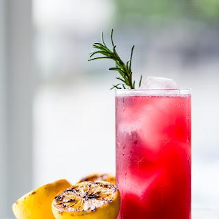 Rosemary, Pomegranate, & Grilled Meyer Lemon Vodka Sparklers.