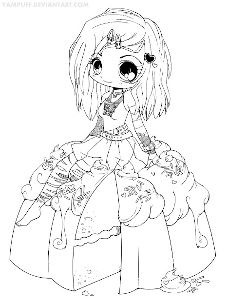 Goth Chibi On Cake Lineart By Yampuff On Deviantart  Adult Coloringcoloring  Bookscoloring