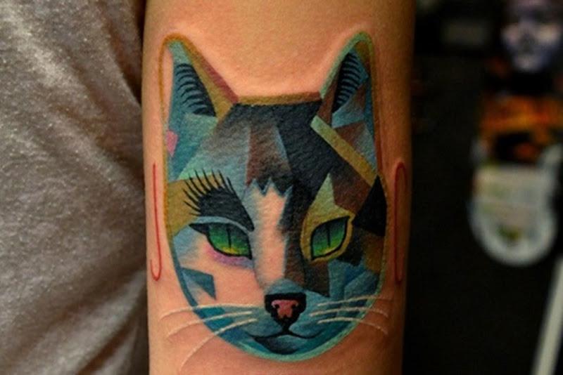 legal_coloridas_cabeça_de_gato_braço_de_tatuagem
