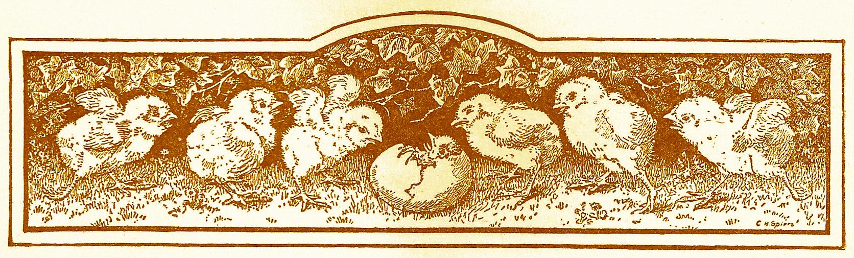 Free vintage clip art printers ornament easter chicks