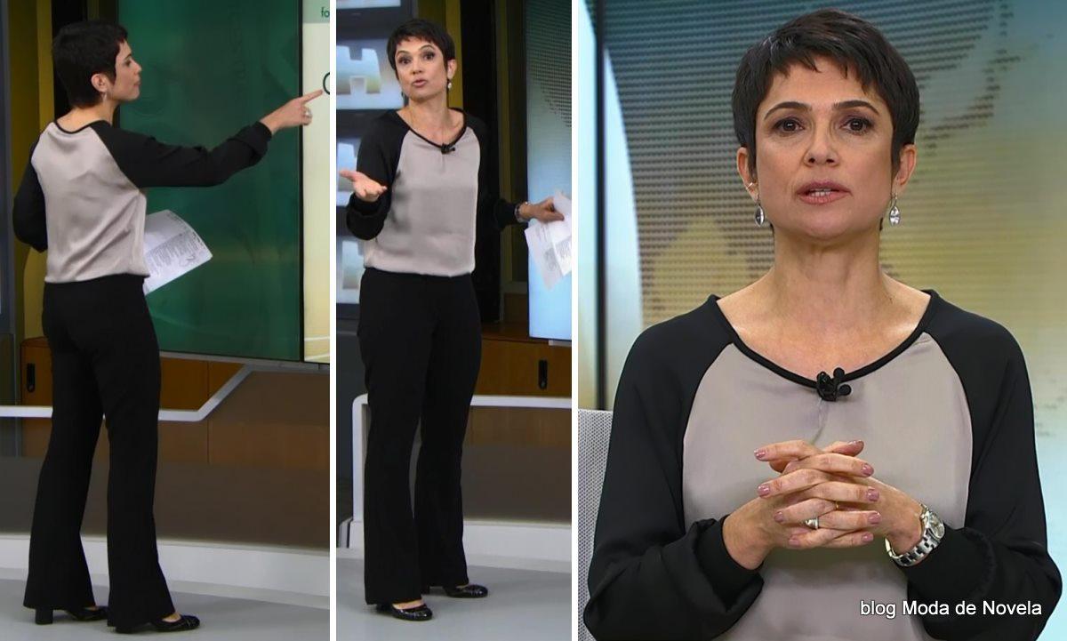 moda do Jonal Hoje - look da Sandra Annenberg