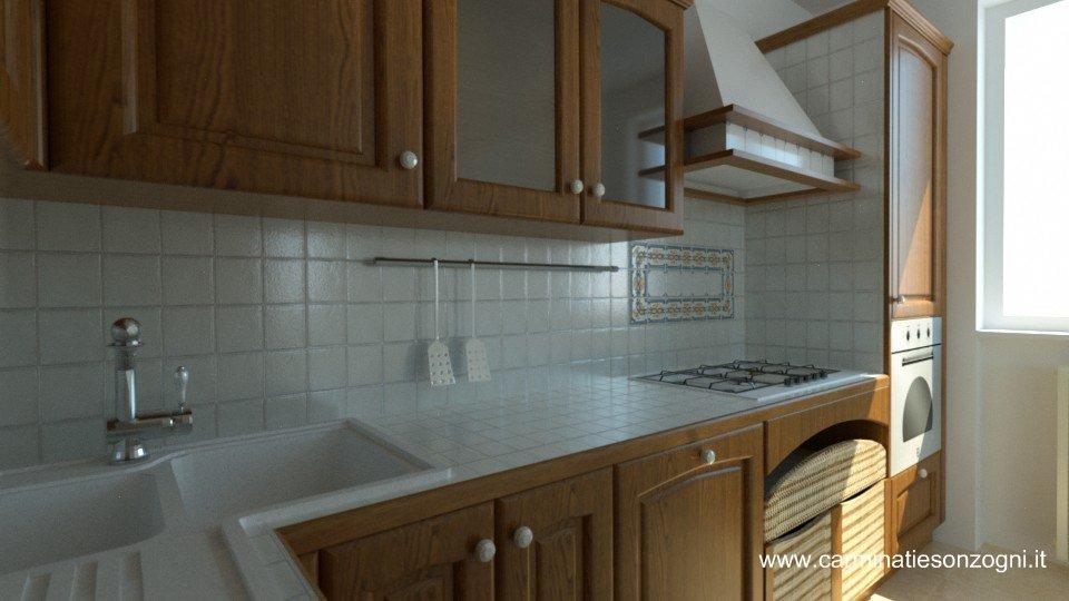 Veduta dio particolari di cucinsa Snaidero mod. Ginestra castagno con piastrelle.jpg