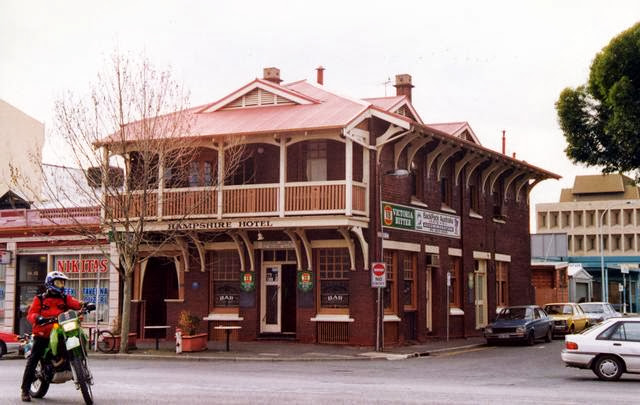 Hampshire Hotel located at 110 Grote Street Adelaide SA, showing Arts and Craft influence with Art Nouveau inspired verandah styling