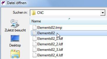 ElementsCAM - Datei öffnen Dialog