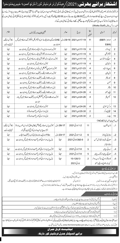 This page is about Headquarter Frontier Corps (North) Jobs May 2021 Jobs May 2021 (100 Posts) Latest Advertisment. Headquarter Frontier Corps (North) Jobs May 2021 invites applications for the posts announced on a contact / permanent basis from suitable candidates for the following positions such as Overseer (B&R/E&M), Supervisor, Electrician, Switch Board Attendant, Wiperman, Pump Driver, Lineman, Carpenter, Mason, Painter, Blacksmith, Gas Fitter, Works Mistari, Sanitary Worker, Baildar, Naib Khateeb, Veterinary Compound, Masalchi, Mess Waiter, Barber, AT Sepoy, Masalchi Sepoy, Cook Sepoy, Cobler, Khakroob, Water Carrier, Washerman. These vacancies are published in Mashriq Newspaper, one of the best News paper of Pakistan. This advertisement has pulibhsed on 05 May 2021 and Last Date to apply is 17 May 2021.