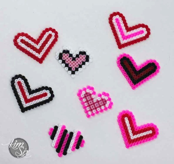 Pearler bead hearts for valentines