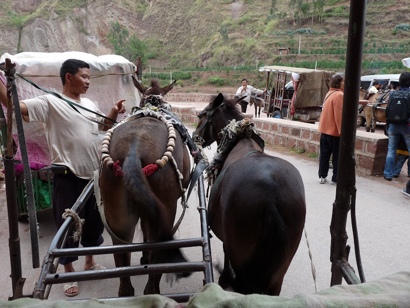 Arrivée à HEI JING. On va au village en calèche