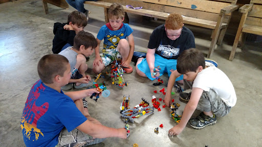 My son, Caleb, and some of his bunk-mates enjoying themselves with what all kids love - LEGOS!