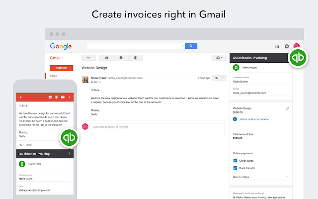 QuickBooks Invoicing For Gmail G Suite Marketplace - Quickbooks electronic invoicing