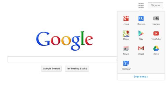 Google Menue