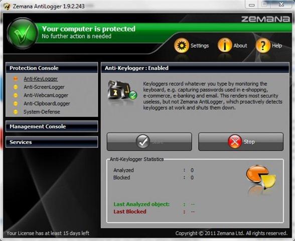 برنامج الحماية من التجسس Zemana AntiLogger 2.20.2.140