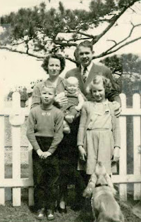 Hilliard Family taken 1954 during Bill & Virginia's furlough in Takoma Park, MD;  Children oldest to youngest: Voncile, William Warren, & Charles LaRue.