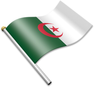 The Algerian flag on a flagpole clipart image
