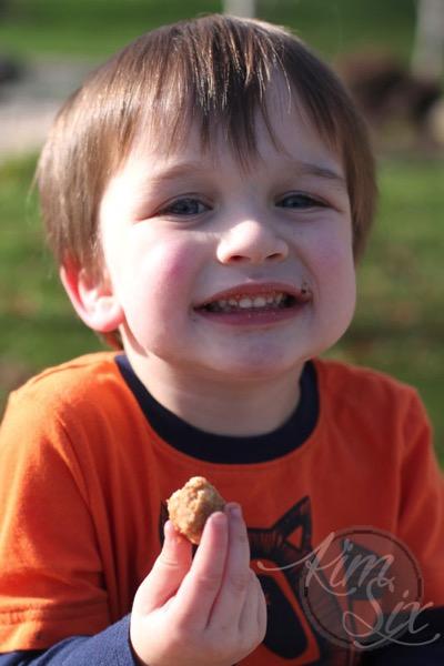 Enjoying a chicken nugget