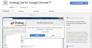 unable to add firebug to google chrome     gives me invalid