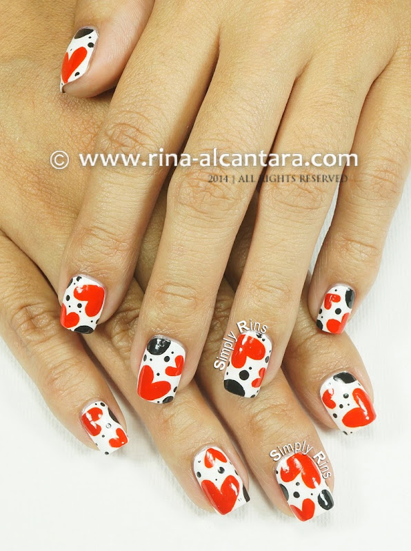 Polka Hearts Nail Art Design by Simply Rins