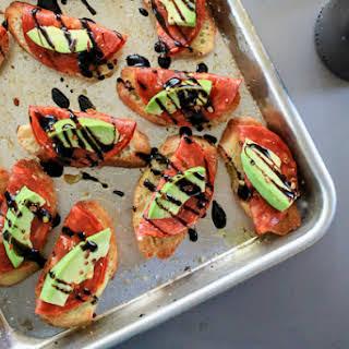 Avocado and Chorizo Toasts with Balsamic Glaze.