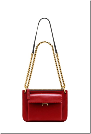 MARNI POCKET BAG in red leather