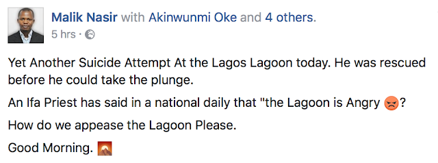 What is it with this lagoon sef? Another Man Rescued Before Taking A Plunge Into The Lagos Lagoon