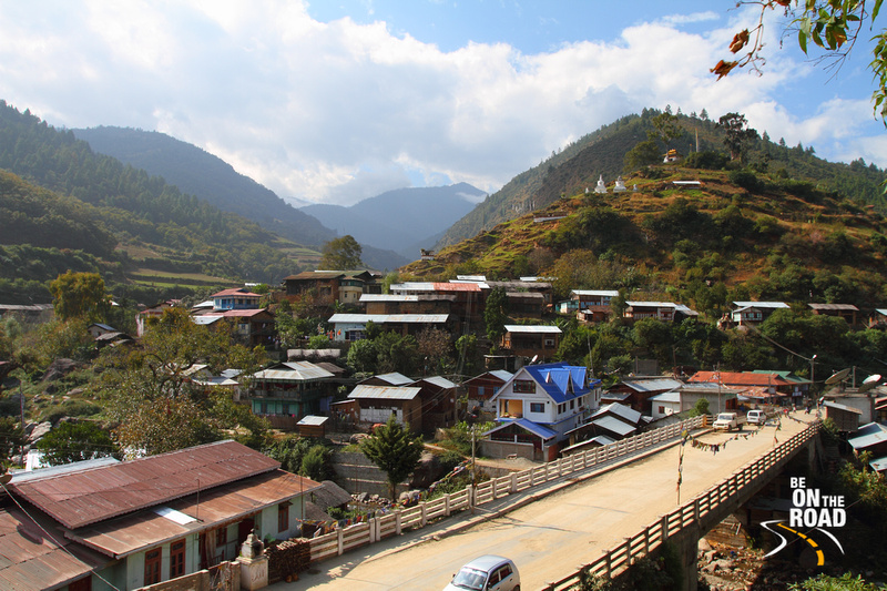 View of Dirang Town from on top of Dirang Dzong
