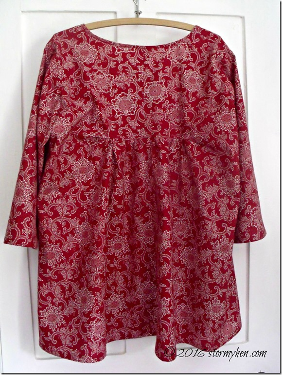 red gathered back tunic back