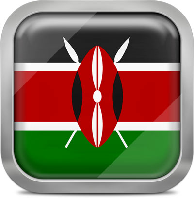 Kenya square flag with metallic frame