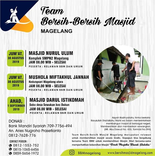 Bergabunglah dalam Kegiatan Bersih-Bersih Masjid SMP N 2 Magelang dan Musholla Miftahul Jannah Kedungsari, Magelang Utara kota Magelang