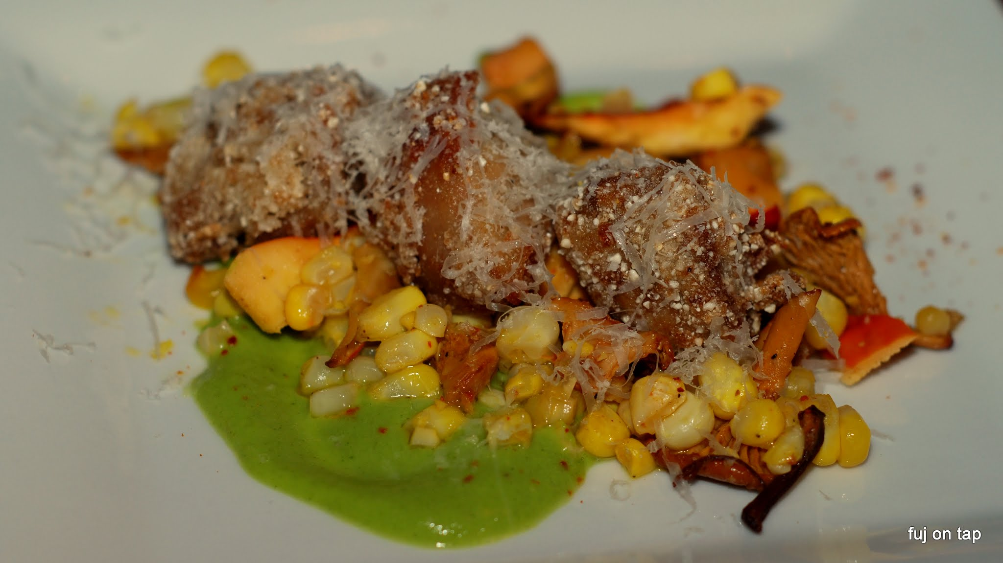 Crispy Veal Sweetbreads, Squash Purée, Sweet Corn, Foraged Mushrooms, Cultured Butter, Parmigiano Reggiano, Lemon, Espelette