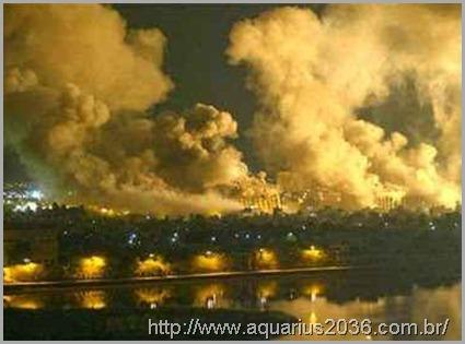 A guerra cruel no iraque de 2003 promovida pelo golpismo americano.