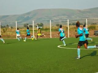 Les Léopards dames de la RDC au centre Kurara Mpova, lors d'un match d'entraînement contre Vclub Junior. Radio Okapi/Ph.Nana Mbala