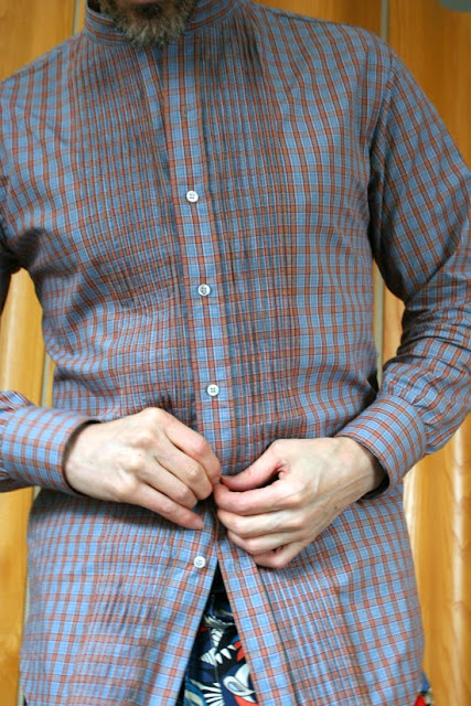Men's pleated shirt made with plaid cotton shirting from Mood Fabrics NYC.