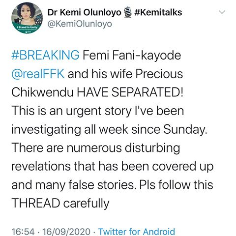 Femi Fani-Kayode and Wife Precious Chikwendu have separated-Kemi Olunloyo alleges, most controversial journalist in nigeria, modern day journalism in Nigeria, SD news blog, twitter news, entertainment news, Abuja bloggers, nigerian lifestyle bloggers,