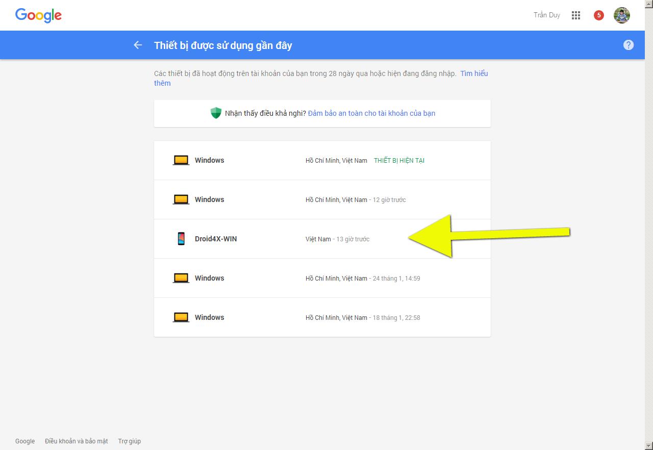 Ngoài ra ở đây bạn cũng có thể kiểm tra được các địa chỉ IP và vị trí cũng  như trình duyệt đăng nhập, thời gian đăng nhập tài khoản Google (Gmail) ...