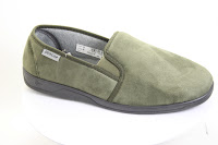 Conventional slippers with moulded-on rubber soles and dark blue microfibre uppers