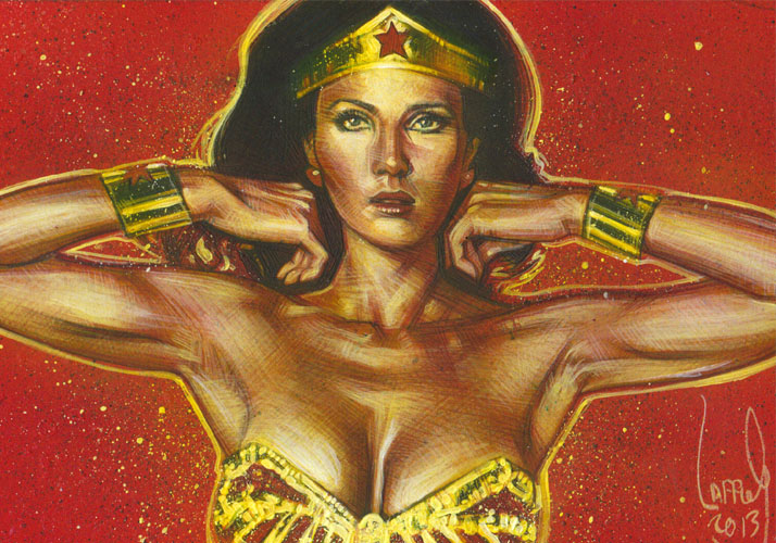 Lynda Carter as Wonder woman, ACEO Sketch Card by Jeff Lafferty