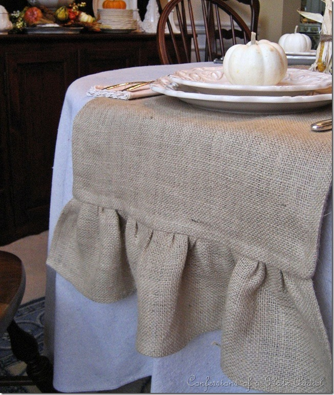 CONFESSIONS OF A PLATE ADDICT DIY Ruffled Burlap Table Runner