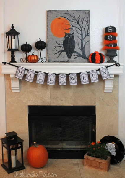 Orange and black halloween mantel 2015